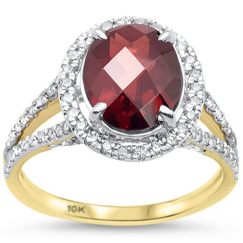 3.49ct 10k Yellow Gold Oval Garnet & Diamond Ring Size 6.5