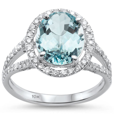 2.64ct 10k White Gold Oval Aquamarine & Diamond Ring Size 6.5