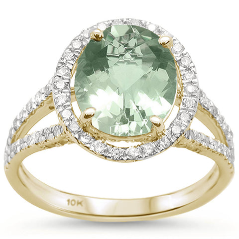 2.98cts 10k Yellow Gold Oval Green Amethyst Diamond Ring Size 6.5