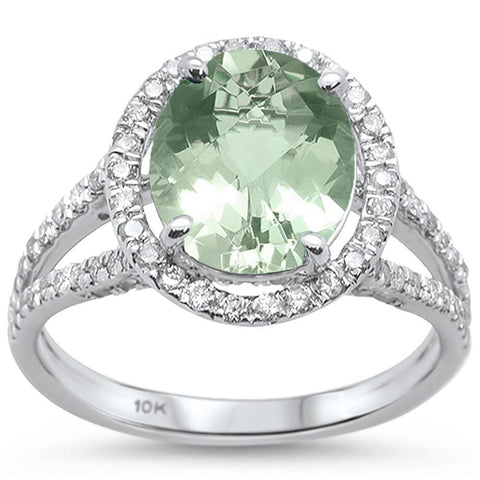 2.98cts 10k White Gold Oval Green Amethyst Diamond Ring Size 6.5