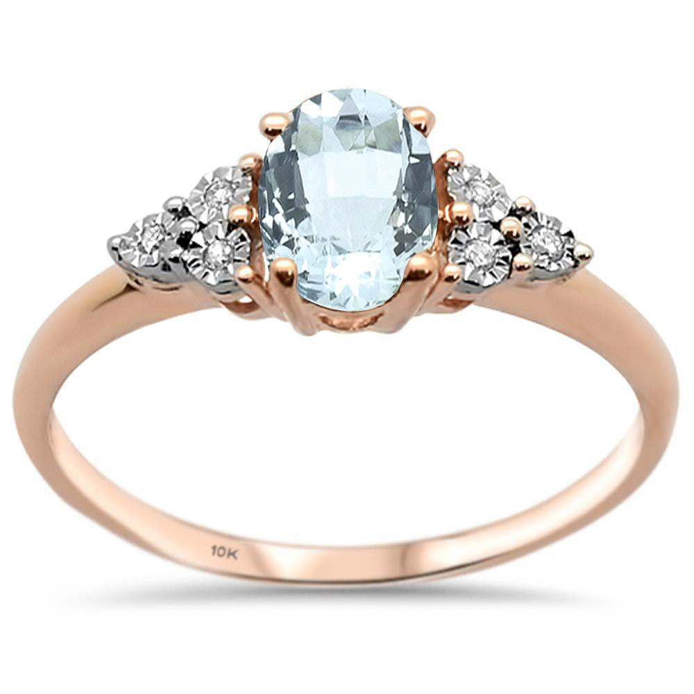 .65ct 10k Rose Gold Oval Aquamarine & Diamond Ring Size 6.5