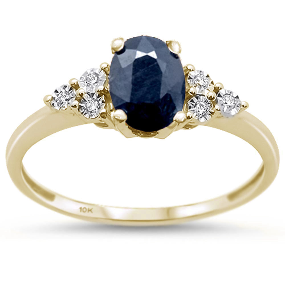 1.0ct 10k Yellow Gold Oval Natural Sapphire & Diamond Ring Size 6.5