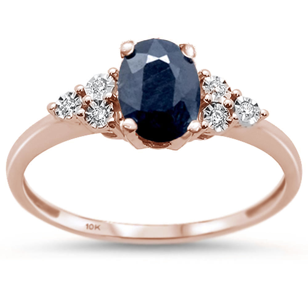 .76ct 10k Rose Gold Natural Blue Sapphire & Diamond Ring Size 6.5