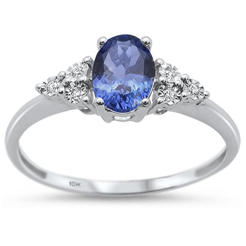 .80ct 10k White Gold Natural Tanzanite & Diamond Ring Size 6.5