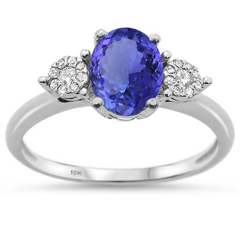 1.97cts F SI 10k White Gold Oval Tanzanite & Diamond Ring Size 6.5