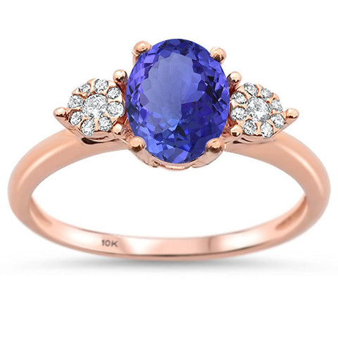 1.37cts 10k Rose Gold Oval Tanzanite & Diamond Ring Size 6.5