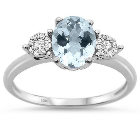 1.06ct 10K White Gold Natural Aquamarine & Diamond Ring Size 6.5