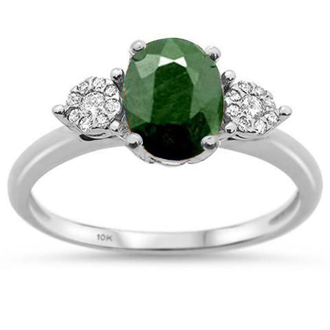 1.41ct 10K White Gold Natural Emerald & Diamond Ring Size 6.5