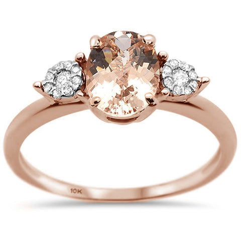 1.31ct 10K Rose Gold Natural Morganite & Diamond Ring Size 6.5