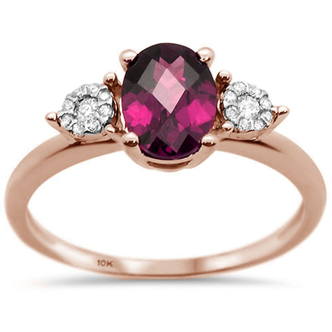 1.65ct 10K Rose Gold Natural Rhodolite & Diamond Ring Size 6.5