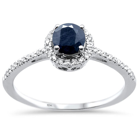 .85cts 10k White gold Round Blue Sapphire Diamond Ring Size 6.5