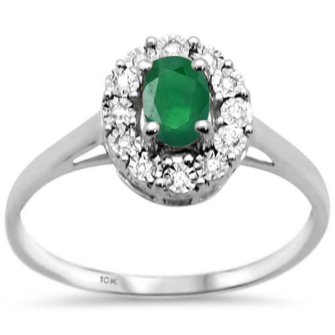 .68ct 10k White Gold Green Emerald & Diamond Ring Size 6.5