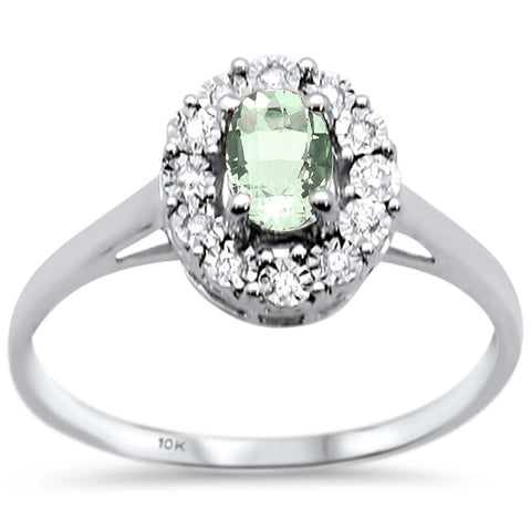 .26ct 10k White Gold Oval Green Amethyst & Diamond Ring Size 6.5