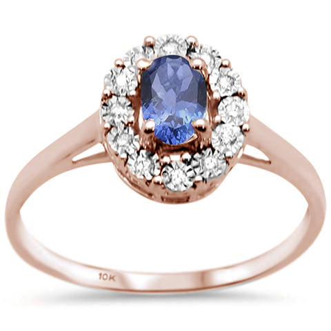 .86ct 10K Rose Gold Oval Tanzanite & Diamond Ring Size 6.5