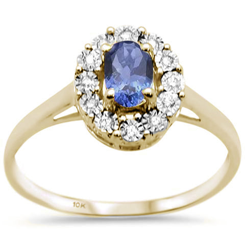 .64ct 10K Yellow Gold Tanzanite & Diamond Ring Size 6.5