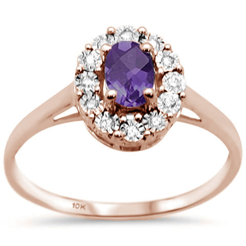 .79ct 10K Rose Gold Oval Amethyst & Diamond Ring Size 6.5
