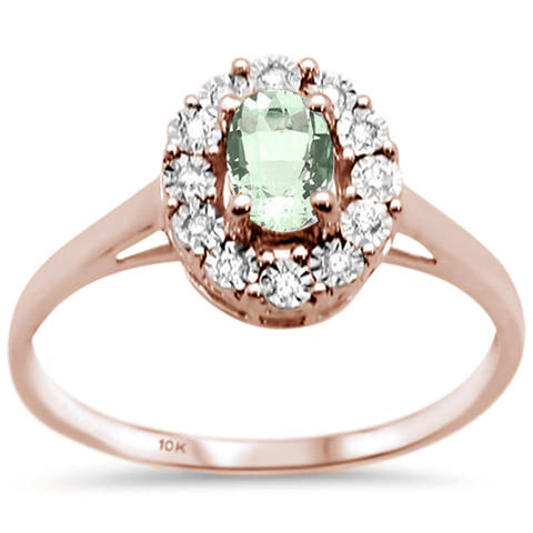 .70ct 10K Rose Gold Oval Green Amethyst & Diamond Ring Size 6.5