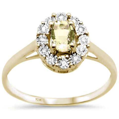 .77ct 10K Yellow Gold Oval Lemon Topaz & Diamond Ring Size 6.5
