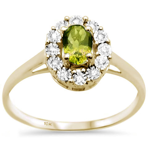 .75ct 10K Yellow Gold Oval Olive & Diamond Ring Size 6.5