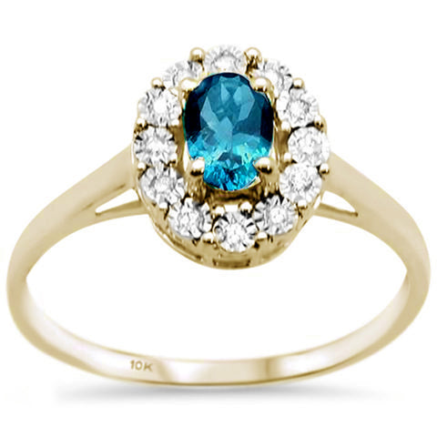.89ct 10K Yellow Gold Oval Blue Topaz & Diamond Ring Size 6.5