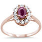 .84ct 10k Rose Gold Oval Ruby & Diamond Ring Size 6.5