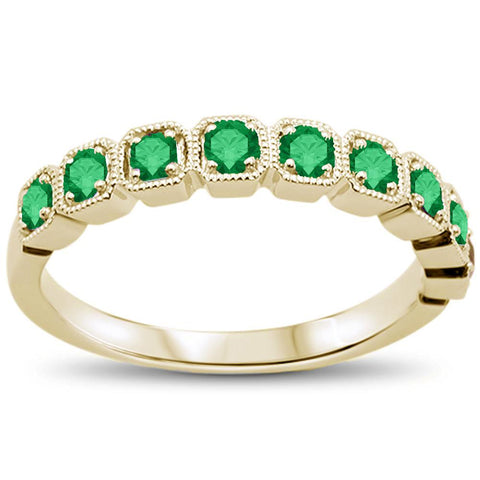 .47cts 14k Yellow Gold Green Emerald Stackable Wedding Band Ring Size 6.5