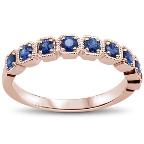 .63cts 14k Rose Gold Blue Sapphire Stackable Wedding Ring Size 6.5