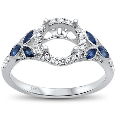 0.64cts 14k White gold Marquise Blue Sapphire Semi-Mount Diamond Ring