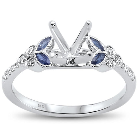 0.361cts 14k White gold Marquise Blue Sapphire Semi-Mount Diamond Ring