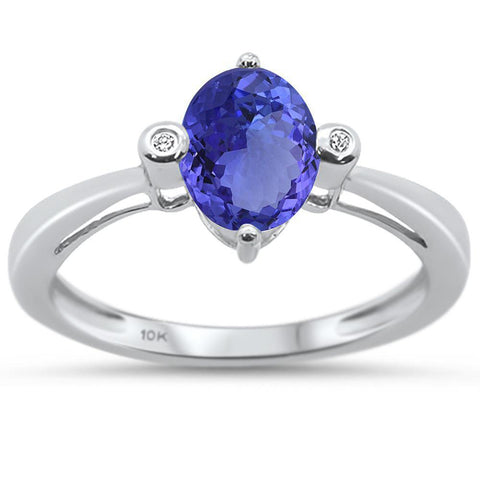 1.38cts 10k White Gold Oval Tanzanite & Diamond Ring Size 6.5