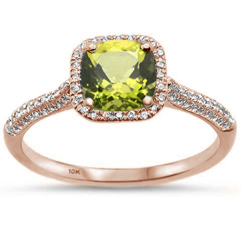 1.10ct 10K Rose Gold Cushion Cut Peridot & Diamond Ring Size 6.5