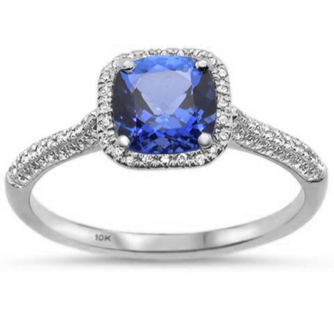 1.05ct 10K White Gold Cushion Tanzanite & Diamond Ring Size 6.5