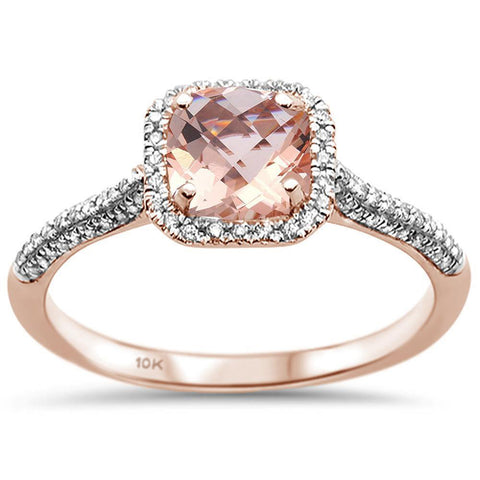 1.03cts 10k Rose Gold Cushion Morganite & Diamond Ring Size 6.5
