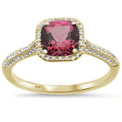 1.28ct 10K Yellow Gold Cushion Rhodolite & Diamond Ring Size 6.5