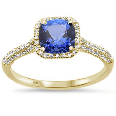 1.15ct 10K Yellow Gold Cushion Tanzanite & Diamond Ring Size 6.5