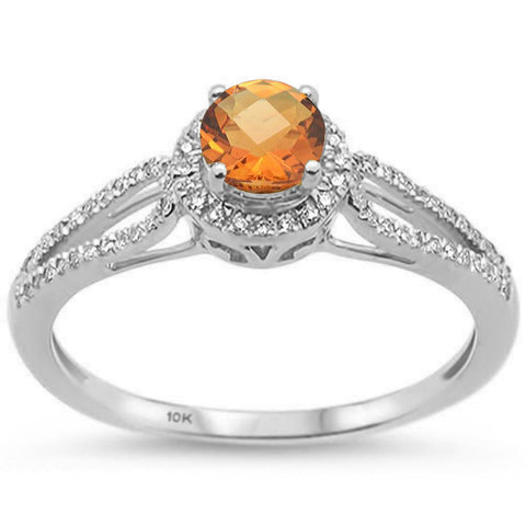 0.57ct 10k White Gold Round Citrine & Diamond Ring Size 6.5