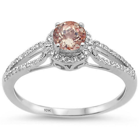 0.54ct 10k White Gold Round Morganite & Diamond Ring Size 6.5