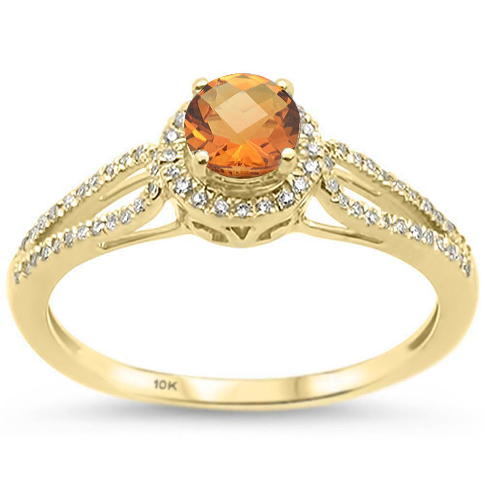 .59ct 10k Yellow Gold Round Citrine & Diamond Ring Size 6.5