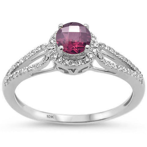 0.77ct 10k White Gold Round Rhodolite & Diamond Ring Size 6.5