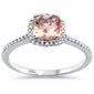 .66ct 10k White Gold Cushion Cut Checker Morganite & Diamond Ring Size 6.5