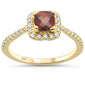 1.17ct 10k Yellow Gold Cushion Cut Garnet & Diamond Ring Size 6.5