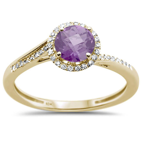 0.49ct 10k Yellow Gold Round Pink Amethyst & Diamond Ring Size 6.5