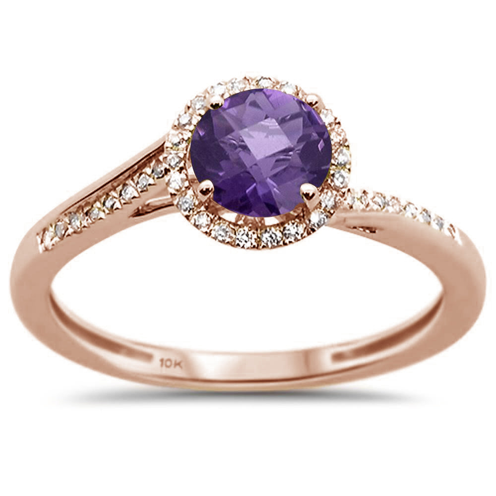.81ct 10k Rose Gold Round Amethyst & Diamond Ring Size 6.5