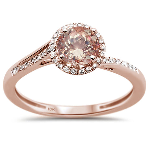 0.54ct 10k Rose Gold Round Morganite & Diamond Ring Size 6.5