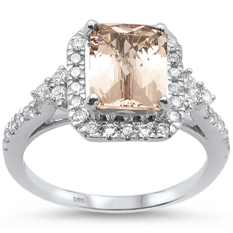 2.47cts 14k White gold Emerald Cut Morganite Diamond Ring Size 6.5