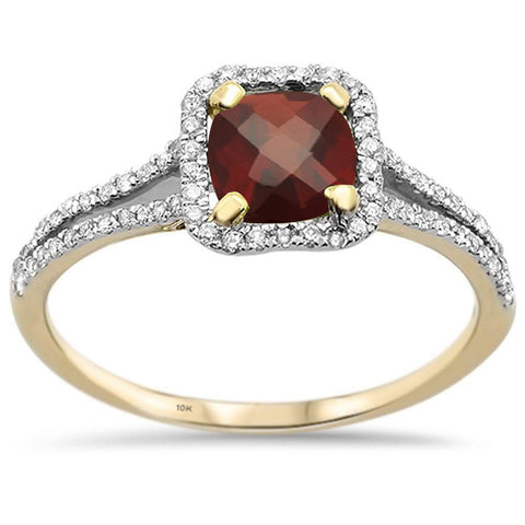 1.52cts 10k Yellow gold Cushion Cut Garnet Diamond Ring Size 6.5