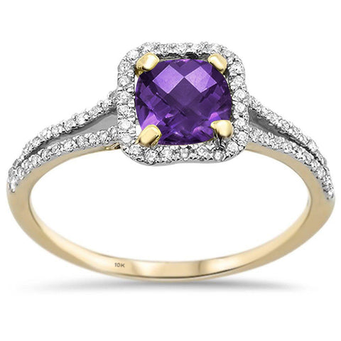 1.06cts 10k Yellow gold Cushion Cut Amethyst Diamond Ring Size 6.5