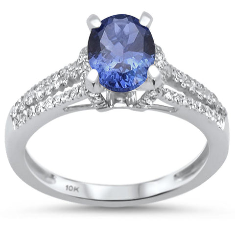 1.57cts 10k White Gold Tanzanite & Diamond Ring