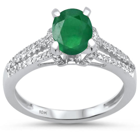 1.46cts 10k White Gold Emerald & Diamond Ring