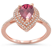 1.99ct 10k Rose Gold Pear Shaped Rhodolite & Diamond Ring size 6.5